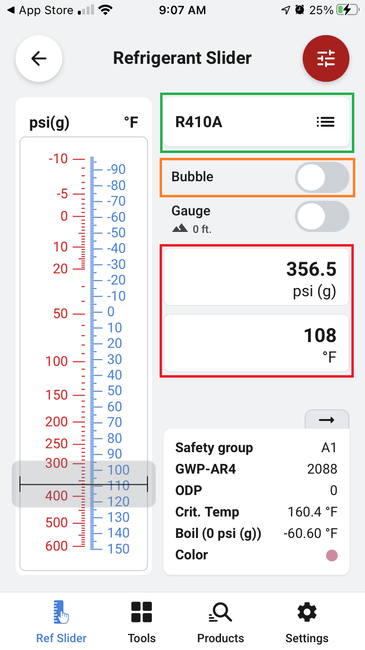 Liquid line pressures of R410A at 108 degrees in the Ref Tools app